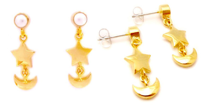 Sailor Moon Crystal Earrings Made of 18k Gold and Swarovski Pearls