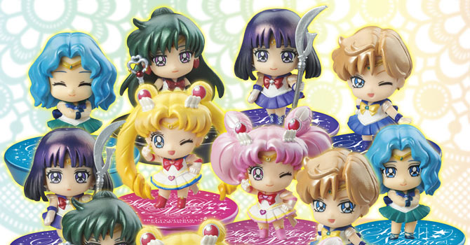 Sailor Moon Petit Chara Figures Set 1 & 2: Glitter Version